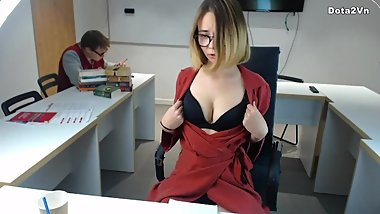 Risky office boss masturbate and boy fucked her
