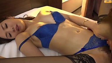 Nono Mizusawa on blue sexy lingerie & stocking luxu491