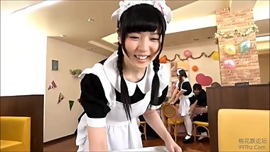 Japanes waitresses have party fun