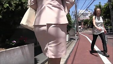 Suited Japanese girl gets office harassment