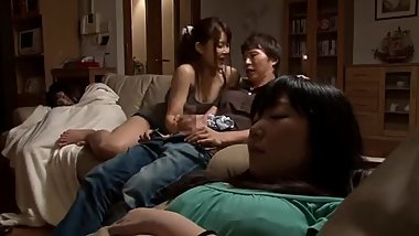Japanese hiding handjob after dinner time