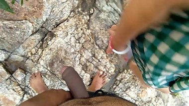Risky Public Outdoor Sex With Stepsister Near Flowing River बहन की चुदाई