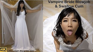 Vampire Bride Sucking Your Dick & Swallow Cum - 4K