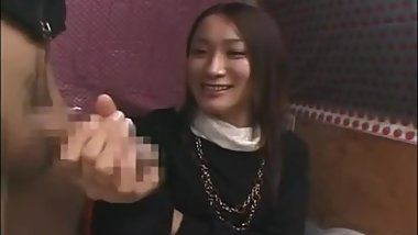 Japanese CFNM Japanese girl watches stranger jerk catches 3