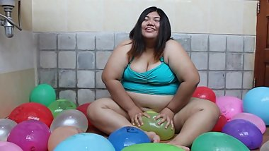 Asian BBW Playing With Water Balloons