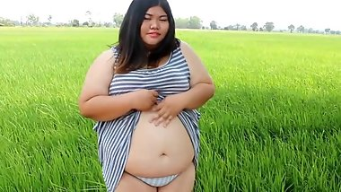 Fat Asian Girl Show Off Belly At Rice Field