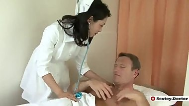 FRIENDLY JAPANESE NURSE SEDUCES PATIENT AND HIS FRIEND TO GET DP - ED [HD]